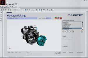 Digitale Montageplanung im Adobe Reader: Der Ausbau eines Teils lässt sich animiert darstellen.