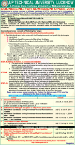UPSEE 2014 Full Counselling Procedure & Schedule in an Advertisement