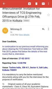 TCS Off-Campus Result & Interview Details Email ScreenShots-4