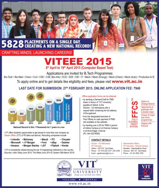 VITEEE 2015 Notification & Complete Information