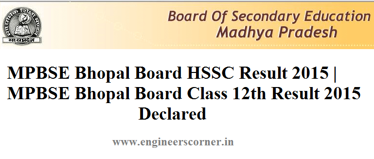 MPBSE HSSC Class 12th result 2015 - Engineers Corner