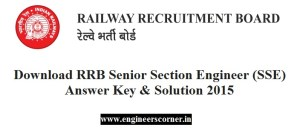 RRB SSE Answer key and solution 2015-16