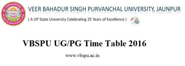 VBSPU UGPG Time Table 2016 BA BCom BSc