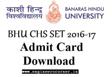 BHU Central Hindu School CHS SET 2016 admit Card download