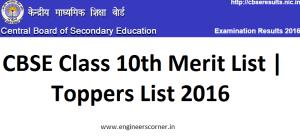 CBSE Class 10th Merit List & Toppers List 2016