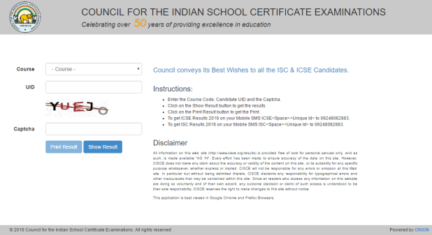 CISCE Results 2016