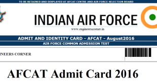 AFCAT Admit Card 2016