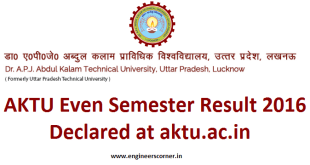 AKTU Even Semester Result 2016