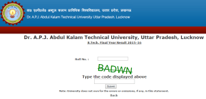 AKTU - UPTU B.Tech Final year 8th Sem Result 2016
