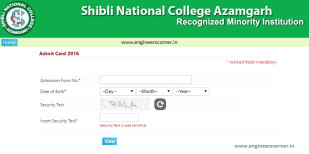 Shibli National College Azamgarh Admit Card