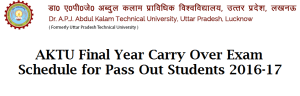 AKTU Final year carry over exam 2016-17