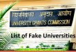 List of Fake Universities in India 2018
