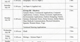 ICSE-Class-10th-Time-Table-2020