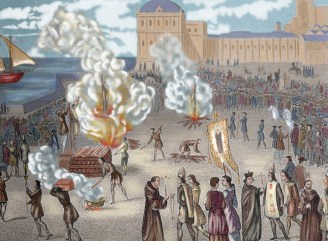 Colour drawing showing people being burned in a public square as part of the Spanish Inquisition
