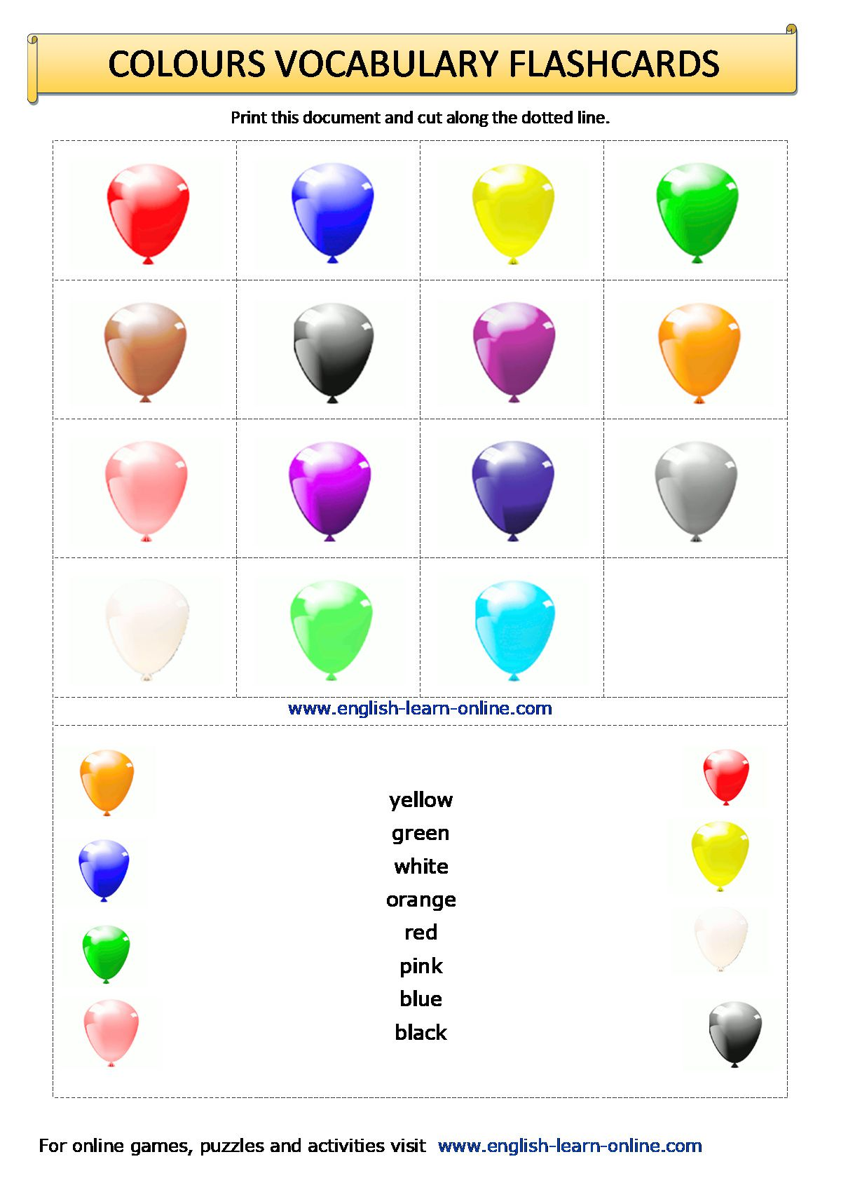 Colours Vocabulary In English
