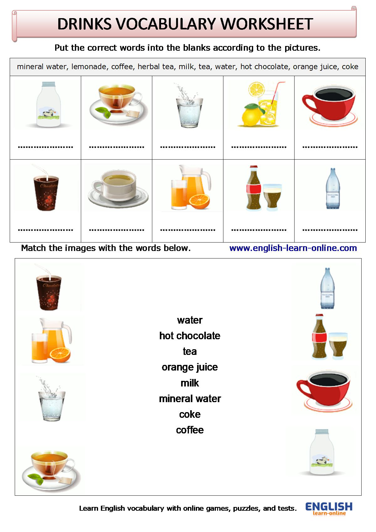 Drinks Vocabulary In English