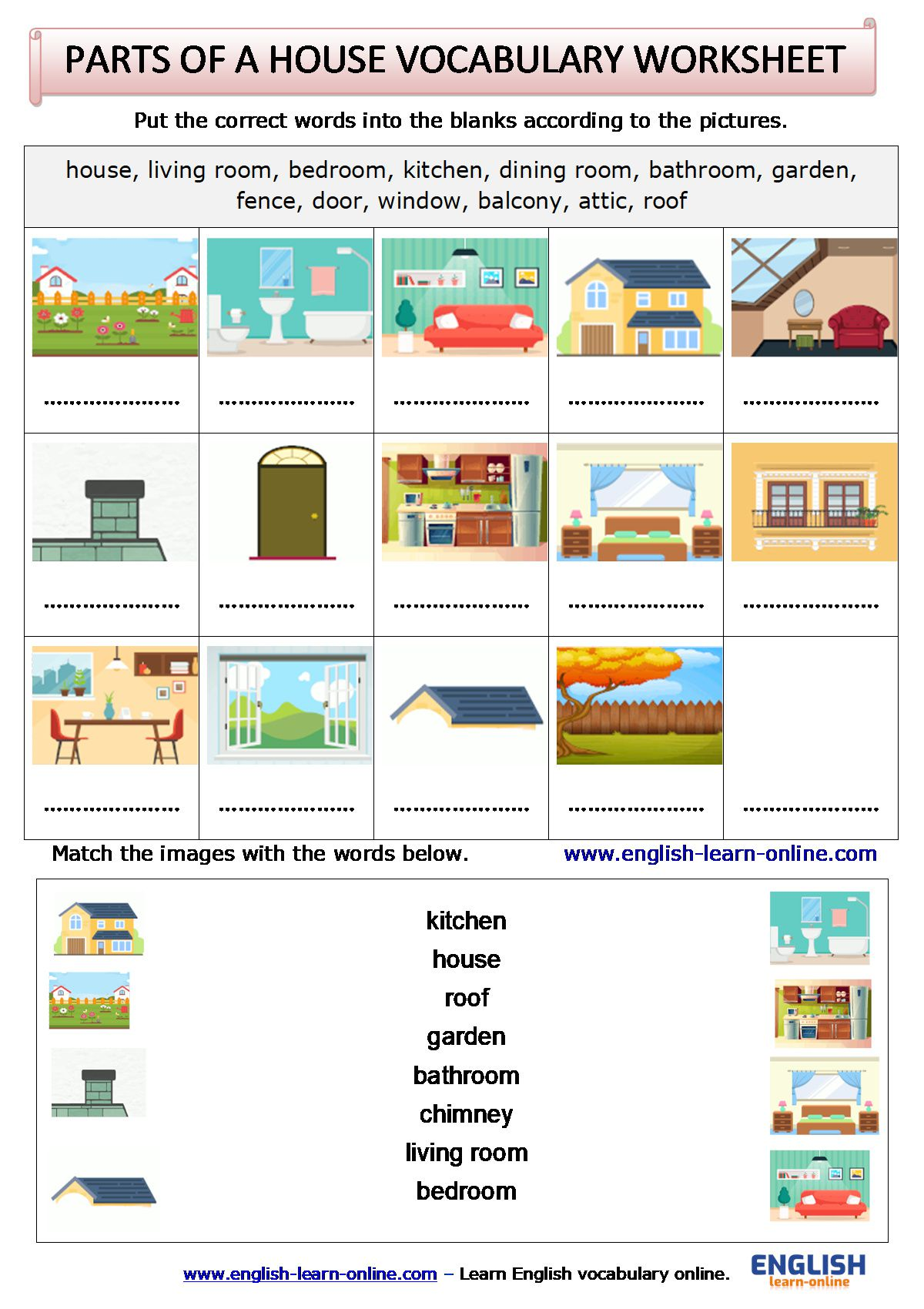 Parts Of A House Vocabulary In English