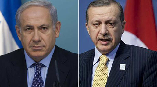 "Turkish President Recep Tayyip Erdogan and ""Israeli"" PM Benajmin Netanyahu"