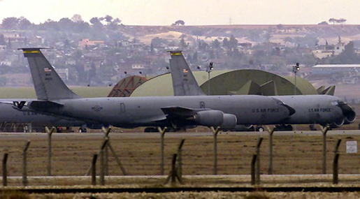 US Air Force tanker planes sit on the tarmac of Incirlik Airbase in southern Turkey