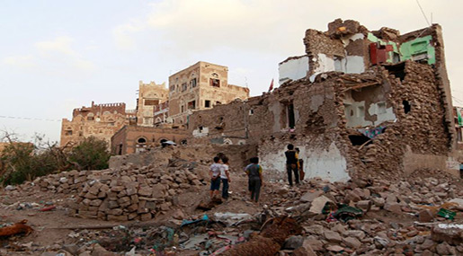 Destroyed house in Yemen