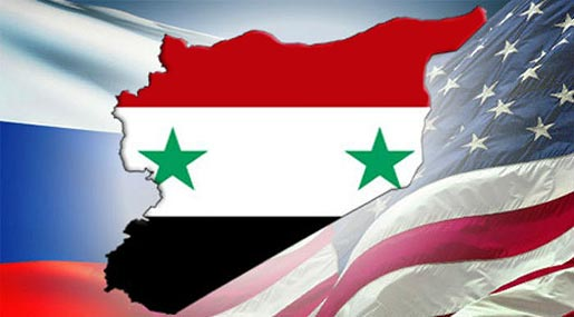 US-Russia flags and Syria map