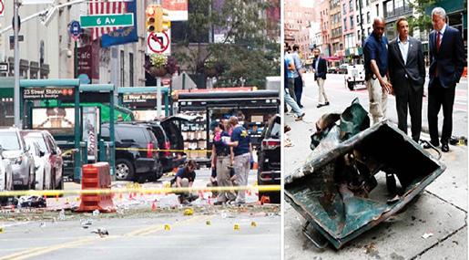 New York police on bomb attack scene