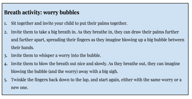 Breath activity: worry bubbles