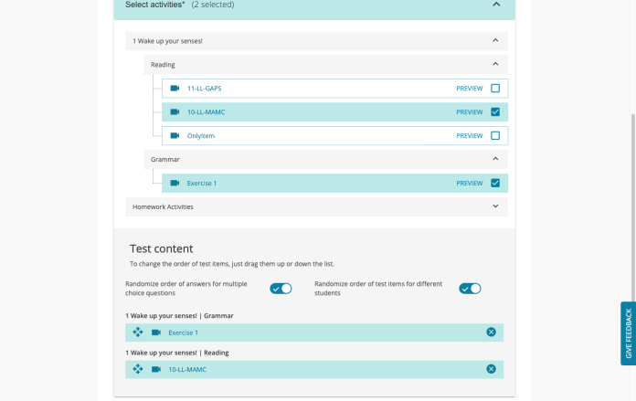 Test generator features