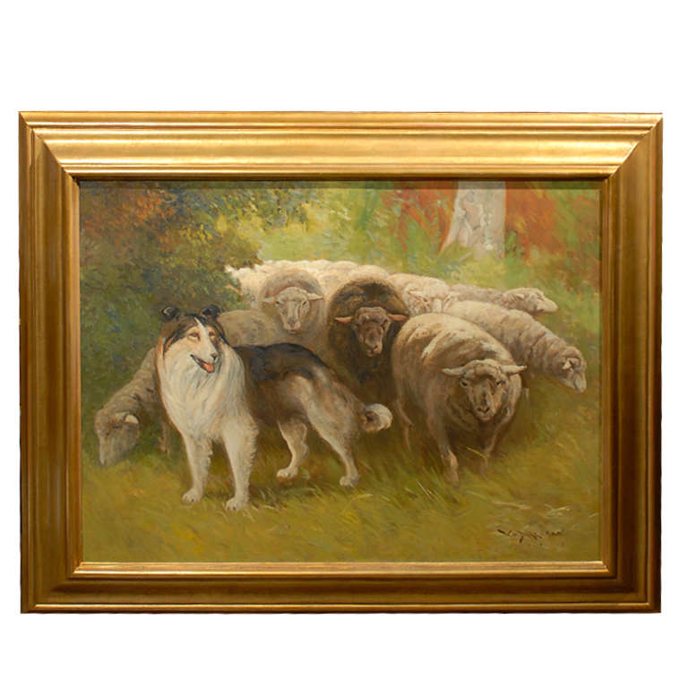 Large Painting Of Sheep And Dog In Landscape On Canvas In