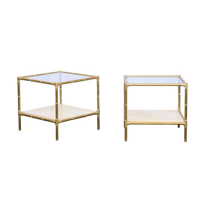 pair of italian midcentury brass side tables with glass top and vellum shelf