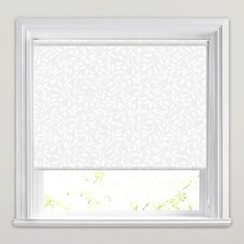 Brilliant White Semi Sheer Leaf Patterned Roller Blinds