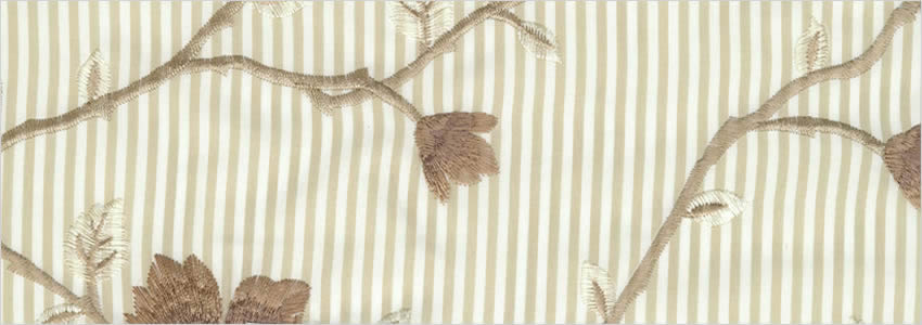 Stripes Amp Flowers Embroidery Beige Brown Amp Cream Luxury Curtains