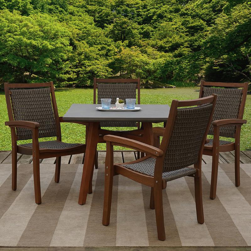 eucalyptus 5 piece all weather wicker outdoor patio furniture dining set