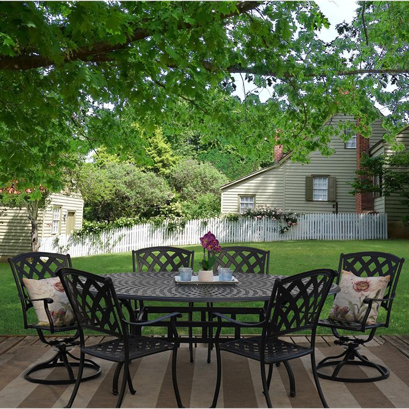 mirage 7 piece cast aluminum outdoor patio furniture dining set