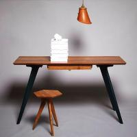 Ted Jefferis of TedWood desk and stool with leather pendant light hanging overhead