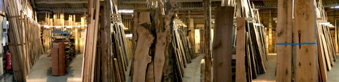panorama of the Timber Rack in the woodshed at cocking sawmills