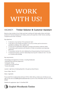 timber selector and customer asistant vacancy at cocking sawmills