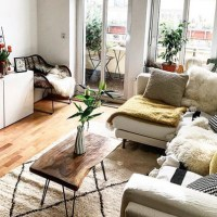 Sky High Design walnut live edge coffee table for a light and airy living room