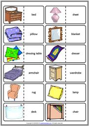 bedroom objects esl printable dominoes