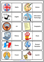 School Subjects Esl Vocabulary Worksheets