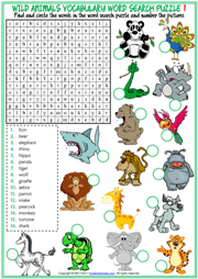 Wild Animals ESL Printable Worksheets And Exercises