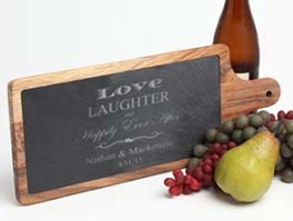Personalized Slate & Wood Cutting Board