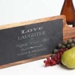 Personalized Slate & Wood Cutting Board