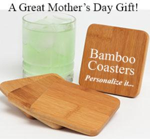 Mothers Day Gift Personalized Bamboo Coasters