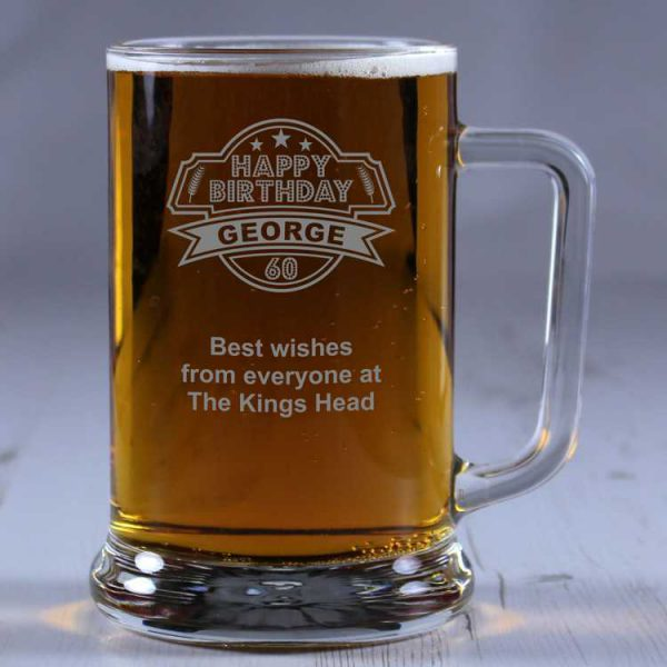 60th Birthday Personalised Glass Tankard Engrave A Gift