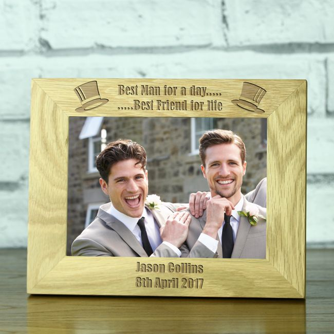 Best Man For A Day Personalised Solid Oak 5 X 7 Wedding