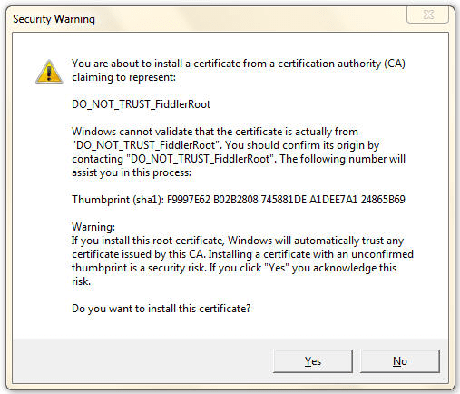 Windows Trust Prompt