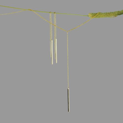 Cindy Gomez Threader Earrings Chain Necklace by Eniko Kallay Fine Jewellery