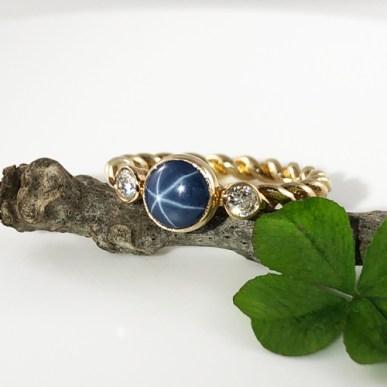 Star Sapphire Diamond Twist Band Ring
