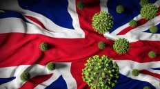 Drapeau du Royaume-Uni avec des représentations de virus